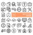 seo line icon set marketing symbols collection vector image vector image