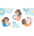set of young mothers with baby in the hand vector image vector image