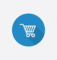 shopping cart Flat Blue Simple Icon with long vector image vector image