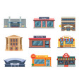 shops and municipal buildings mini stores vector image vector image