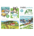 sketch farm colorful composition vector image vector image