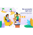 successful blogging training flat banner vector image vector image