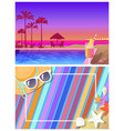 summer landscape and bright beach composition set vector image vector image