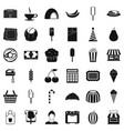 sweet dish icons set simple style vector image