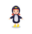 sweet happy little girl in the costume of penguin vector image