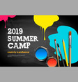 themed summer camp poster 2019 kids art craft vector image vector image