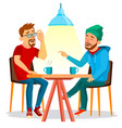 two man friends drinking coffee best vector image vector image