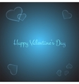 Valentines card with stylish hearts on brigth blue vector image vector image