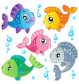 various cute fishes collection 3 vector image vector image