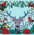 winter colorful pattern with deer and birds vector image