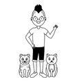 young man and cats pets vector image