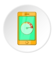 Battery indicator on phone icon cartoon style vector image