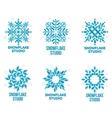 Set of geometrical abstract snowflake logo vector image