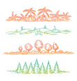 nature borders with colorful trees vector image
