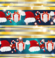 New year pattern with Santa hat gift and striped vector image