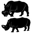 Rhino silhouette set of three vector image