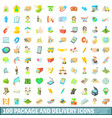 100 package and delivery icons set cartoon style vector image vector image