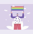 a man with placard pro-lgbt gay parade vector image