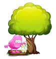 A monster and a cat under the tree vector image vector image