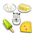 a set of items and food on the theme of cows milk vector image vector image