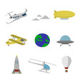 air transportation flat icons set vector image