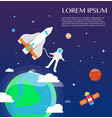 astronaut traveling around solar system design vector image vector image