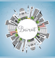 beirut skyline with gray buildings blue sky and vector image vector image