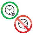 Best time permission signs set vector image vector image