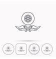 Car wheel icon Fire flame symbol vector image vector image