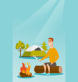 caucasian man roasting marshmallow over campfire vector image vector image