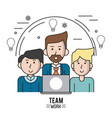 colorful poster of team work with half body vector image vector image