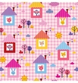 cute baby animals in houses kids pattern vector image vector image