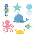 cute basea fishes cartoon underwater animals vector image vector image