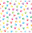 cute cats paws in rainbow colours seamless vector image