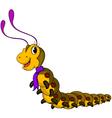 cute yellow worm cartoon vector image vector image