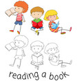 doodle children reading a book vector image vector image