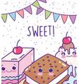food cute cake ice cream cookie milkshake cartoon vector image