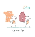 forwarder carries a box with the goods and home vector image vector image