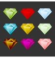 Gem Icon Set Game Resource Or Emblem vector image
