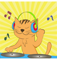 ginger tabby cat wearing headphones spinning music vector image