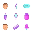 Hair cut icons set cartoon style vector image vector image