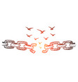 hand drawn broken chain and flock of birds over it vector image vector image