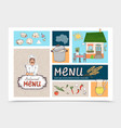 hand drawn russian cuisine cafe concept vector image