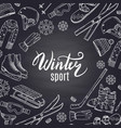 Hand drawn winter sports equipment and