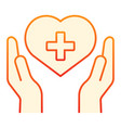 hands with heart and cross flat icon donation vector image vector image