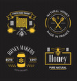 honey vintage logo set vector image