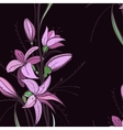 Lily Flowers on Dark Background vector image vector image