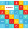 Line Happy New Year Icons vector image vector image