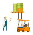male worker character engineer in forklift car vector image vector image