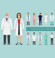 medical team group of doctors nurses and other vector image vector image